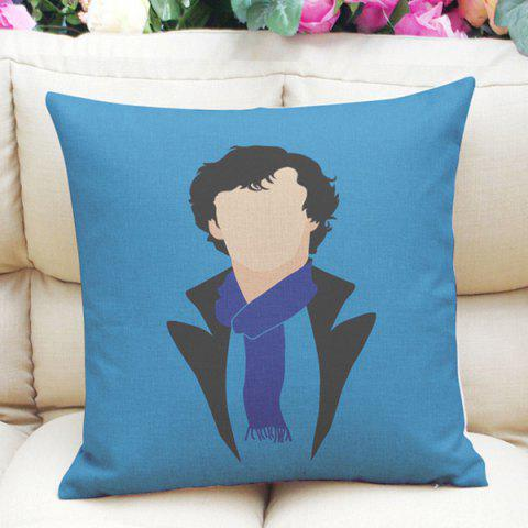 Hot Sale Abstract Sherlock Holmes Pattern Square Shape Pillowcase (Without Pillow Inner) - ICE BLUE