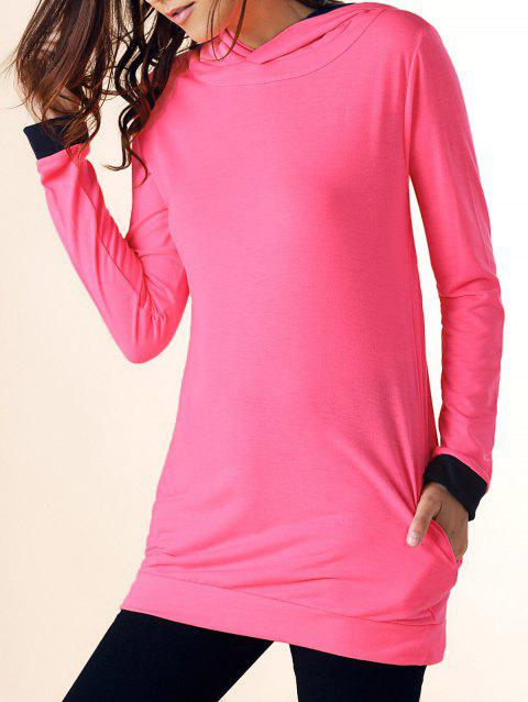 Casual Hooded Color Block Long Sleeve Women's Dress - ROSE RED L