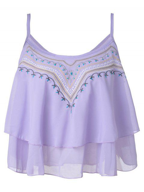dcacd861b949e Ethnic Style Embroidery Spaghetti Strap Chiffon Tank Tops For Women - LIGHT  PURPLE ONE SIZE(
