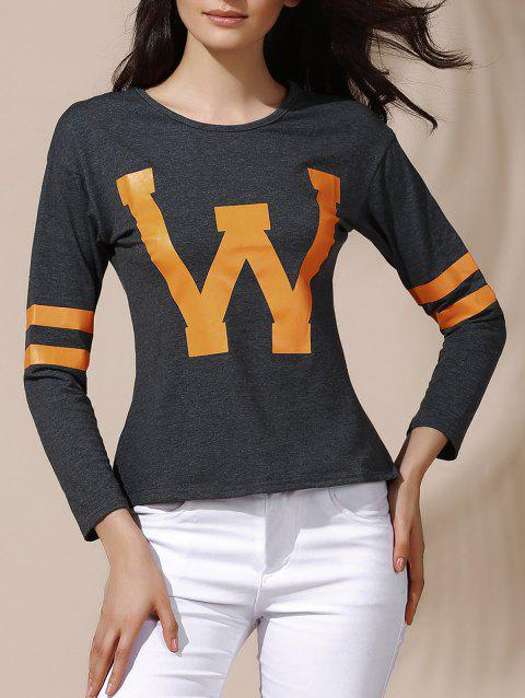 Letter Print Long Sleeves Women's Tee - DEEP GRAY L