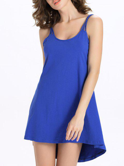 Stylish Candy Color Scoop Neck Tank Dress For Women - SAPPHIRE BLUE XL