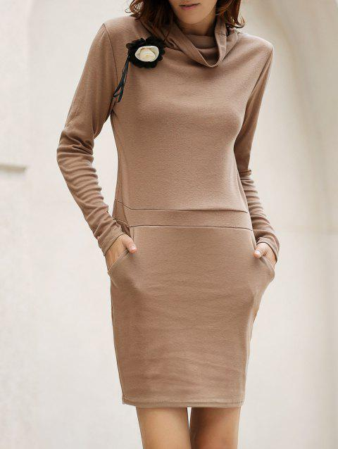 Stylish Long Sleeve Cowl Neck Bodycon Solid Color Women's Dress