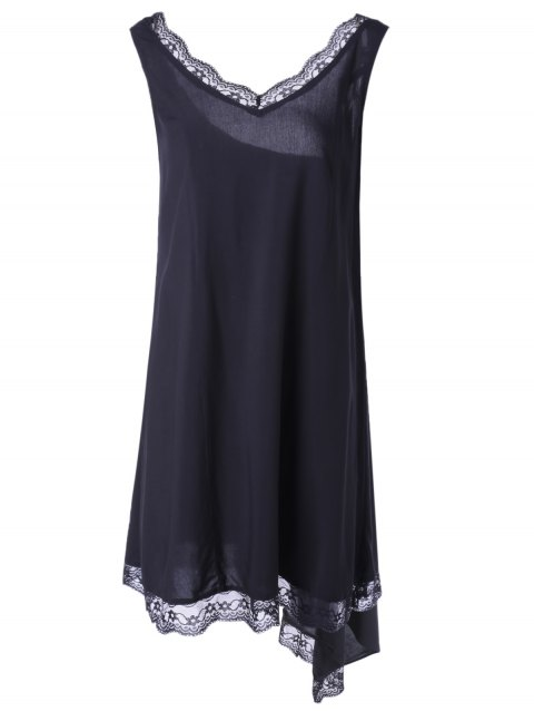 Fashionable Women's V-Neck Sleevesless Asymmetric Lace Dress - BLACK S