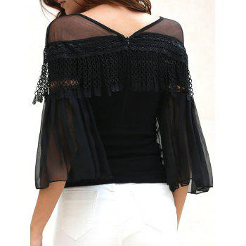 Stylish V-Neck Laciness Spliced Long Sleeve Women's Chiffon Blouse