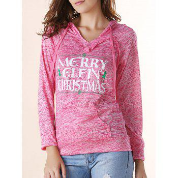 Trendy Hooded Long Sleeve Letter Print Pocket Design Women's Hoodie - RED L