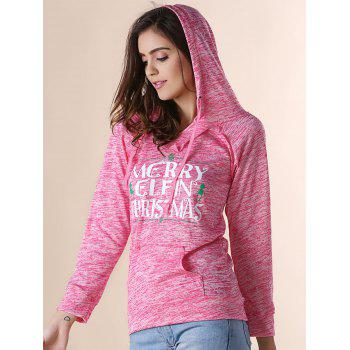Trendy Hooded Long Sleeve Letter Print Pocket Design Women's Hoodie - RED RED