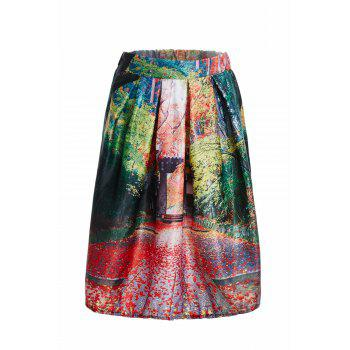 Vintage Knee-Length Flare Landscape Printed Women's Skirt