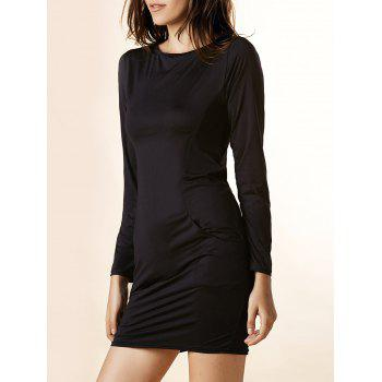 Casual Solid Color Boat Neck Long Sleeve Pocket Mini Dress For Women