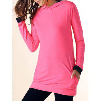Casual Hooded Color Block Long Sleeve Women's Dress