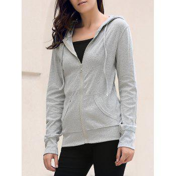 Stylish Hooded Long Sleeve Skull Pattern Solid Color Women's Hoodie