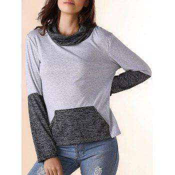 Stylish Long Sleeve Cowl Neck Color Block Women's Sweatshirt