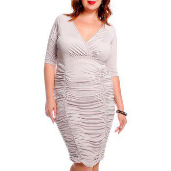 V-Neck Half Sleeve Pleated Bodycon Midi Dress