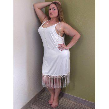 Stylish Spaghetti Strap Fringed Plus Size Women's Tank Top - WHITE 2XL