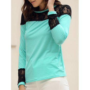 Stylish Jewel Neck Long Sleeves Lace Spliced T-Shirt For Women