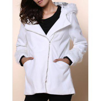 Chic Hooded Long Sleeve Zippered Loose-Fitting Women's Coat - WHITE ONE SIZE(FIT SIZE XS TO M)