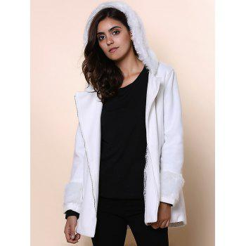 Chic Hooded Long Sleeve Zippered Loose-Fitting Women's Coat - ONE SIZE(FIT SIZE XS TO M) ONE SIZE(FIT SIZE XS TO M)