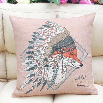 National Flavor Totem Fox Pattern Square Shape Pillowcase (Without Pillow Inner)