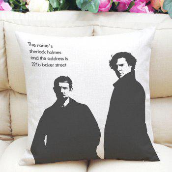Hot Sale Sherlock and Watson Pattern Square Shape Pillowcase (Without Pillow Inner)