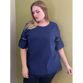 Trendy Jewel Neck manches cloche Solid Color Cut Out Blouse pour les femmes - Bleu Violet XL