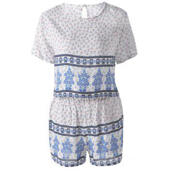 Ethnic Round Neck Pearl Button Cut Out Back Crop Top + Stepped Hem High Waist Shorts Floral Printing Twinset For Women