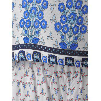 Ethnic Round Neck Pearl Button Cut Out Back Crop Top + Stepped Hem High Waist Shorts Floral Printing Twinset For Women - BLUE ONE SIZE(FIT SIZE XS TO M)