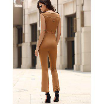 Trendy Sleeveless Solid Color Belted Wide-Leg Jumpsuit For Women - KHAKI KHAKI
