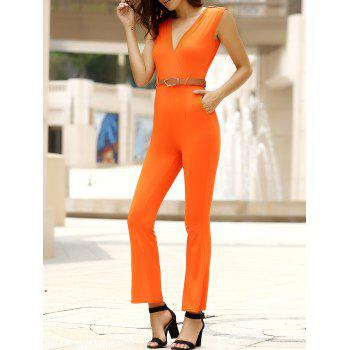 Trendy Sleeveless Solid Color Belted Wide-Leg Jumpsuit For Women