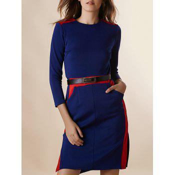 Chic 3/4 Sleeve Round Collar Spliced Hit Color Women's Dress