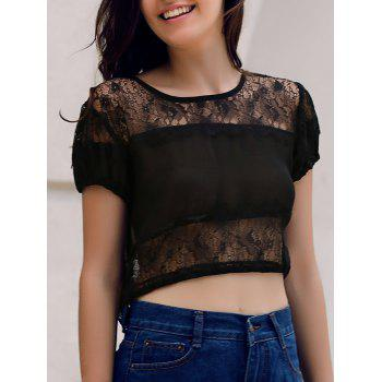 Sexy Women's Round Collar See-Through Lace Spliced Short Sleeve Crop Top