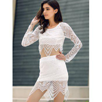 Lace Insert Crop Top and Lace Insert Skirt Twinset - WHITE M