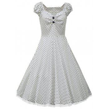 Vintage Cap Sleeve Sweetheart Neck Polka Dot Ruched Women's Dress