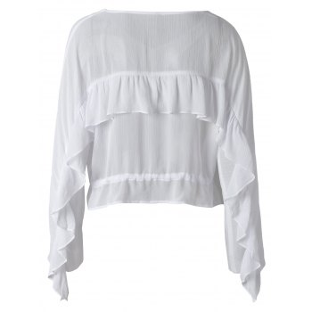 Fashionable Chiffon Falbala Blouse For Women - XL XL