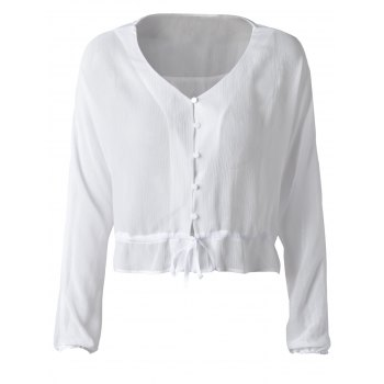 Fashionable Chiffon Falbala Blouse For Women - CRYSTAL CREAM XL
