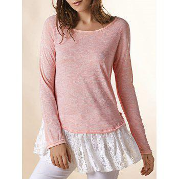 Fresh Style Lace Spliced Long Sleeve T-Shirt For Women