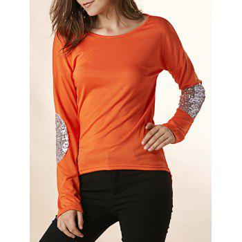 Fashional Scoop Neck Long Sleeve Elbow Patch Asymmetrical Women's T-Shirt