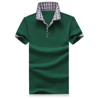 Plus Size Color Block Plaid Splicing Turn-down Collar Shorts Sleeves Men's Polo T-Shirt
