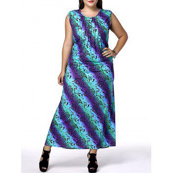 Casual Sleeveless Scoop Neck African Print Plus Size Women's Dress