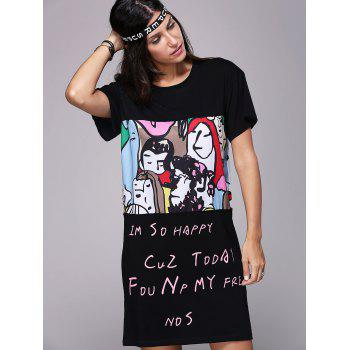 Cute Women's Round Neck Short Sleeve Face Print T-Shirt Dress - BLACK ONE SIZE(FIT SIZE XS TO M)