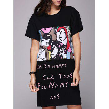 Cute Women's Round Neck Short Sleeve Face Print T-Shirt Dress