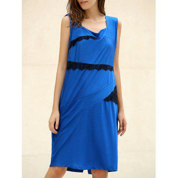 OL Square Neck Sleeveless Patch Lace Women's Bodycon Dress