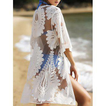 Bohemian Style Floral 3/4 Sleeve Women's Cover-Up