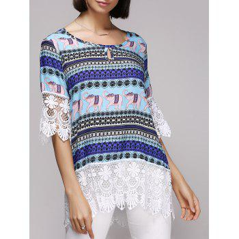 Stylish Spliced 3/4 Sleeve Scoop Neck Tribal Print Women's Blouse