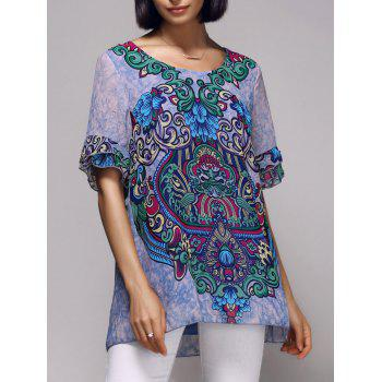 Stylish Tribal Print Short Sleeve Scoop Neck Women's Blouse