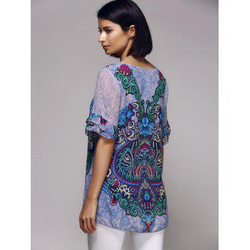 Stylish Tribal Print Short Sleeve Scoop Neck Women's Blouse - L L