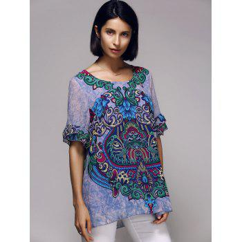 Stylish Tribal Print Short Sleeve Scoop Neck Women's Blouse - PURPLE L