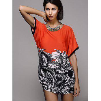 Stylish Scoop Neck Printed Short Sleeve Women's T-Shirt - JACINTH L