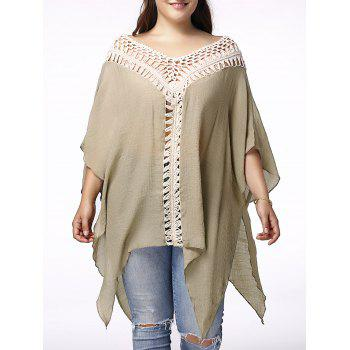 Stylish V Neck 3/4 Sleeve Asymmetrical Hollow Out Plus Size Women's Maternity Blouse