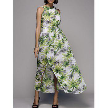 Sweet Women's Round Neck Plant Print Self-Tie Maxi Dress