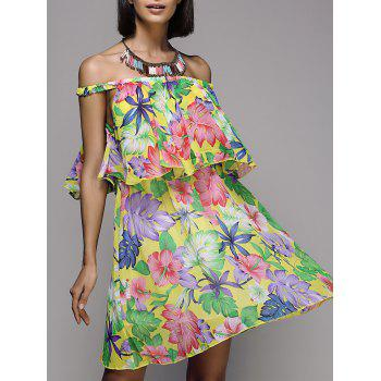 Sweet Floral Print Off-The-Shoulder Women's Chiffon Dress