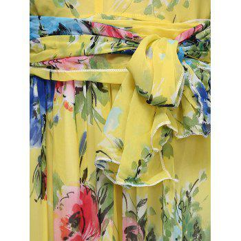 Stylish Floral Print Halter Neck Women's Maxi Chiffon Dress - YELLOW M